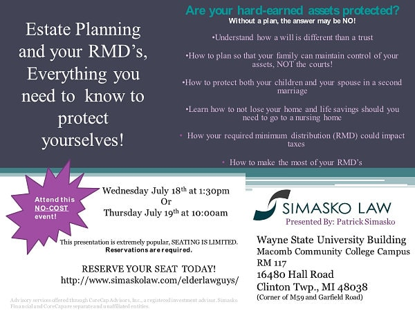 Estate Planning and Your RMD's free event